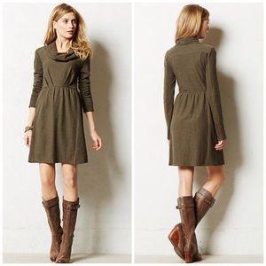 Anthropologie Cowl Neck Long Sleeve Fall Dress